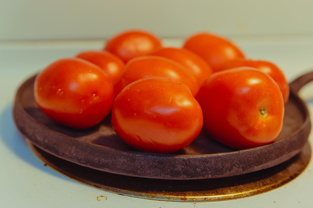 Fresh tomatoes on the comal